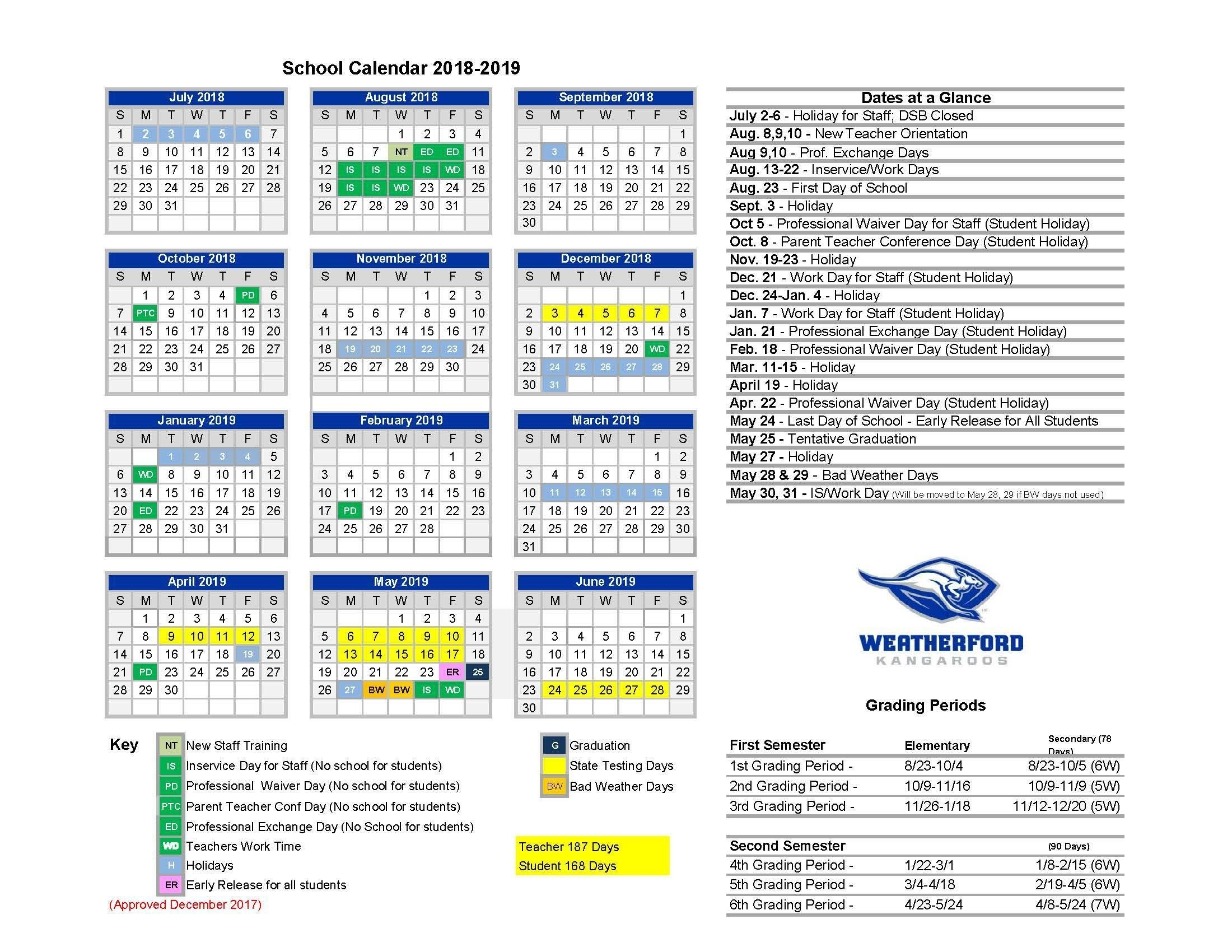 Home – Calendars – Weatherford Independent School District District 2 School Calendar