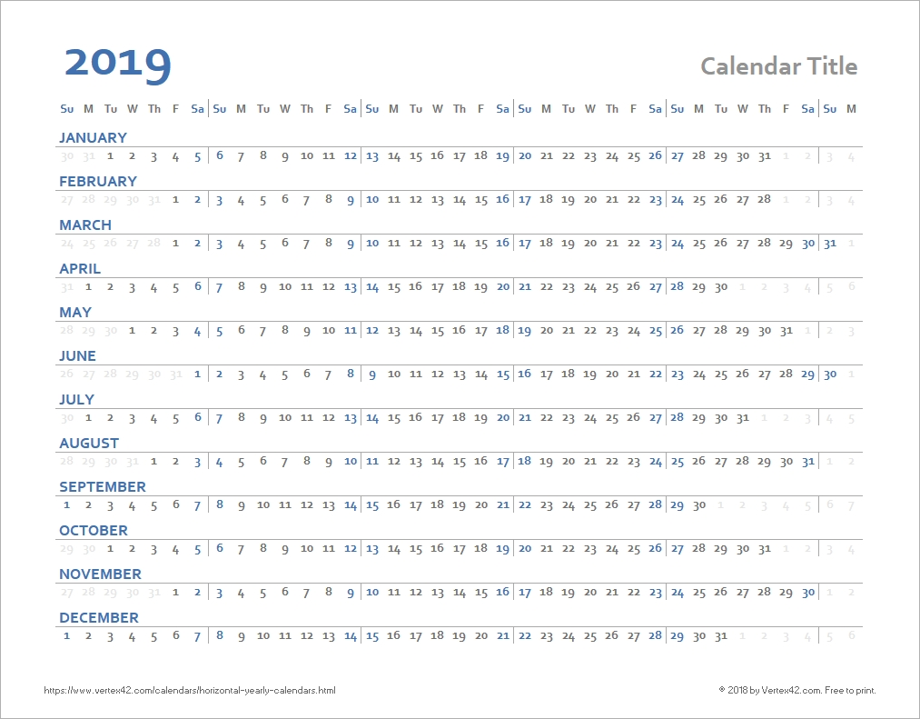 Horizontal Yearly Calendar Templates Calendar Template By Vertex42