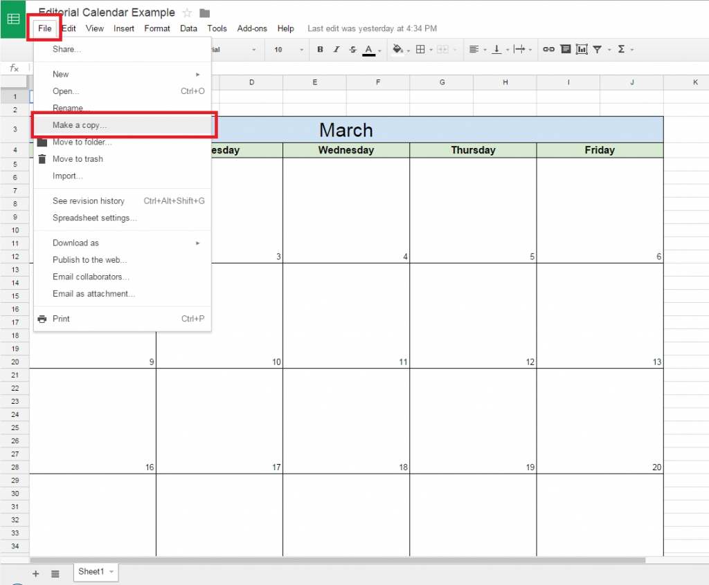 How To Create A Free Editorial Calendar Using Google Docs - Tutorial Calendar Template On Google Drive