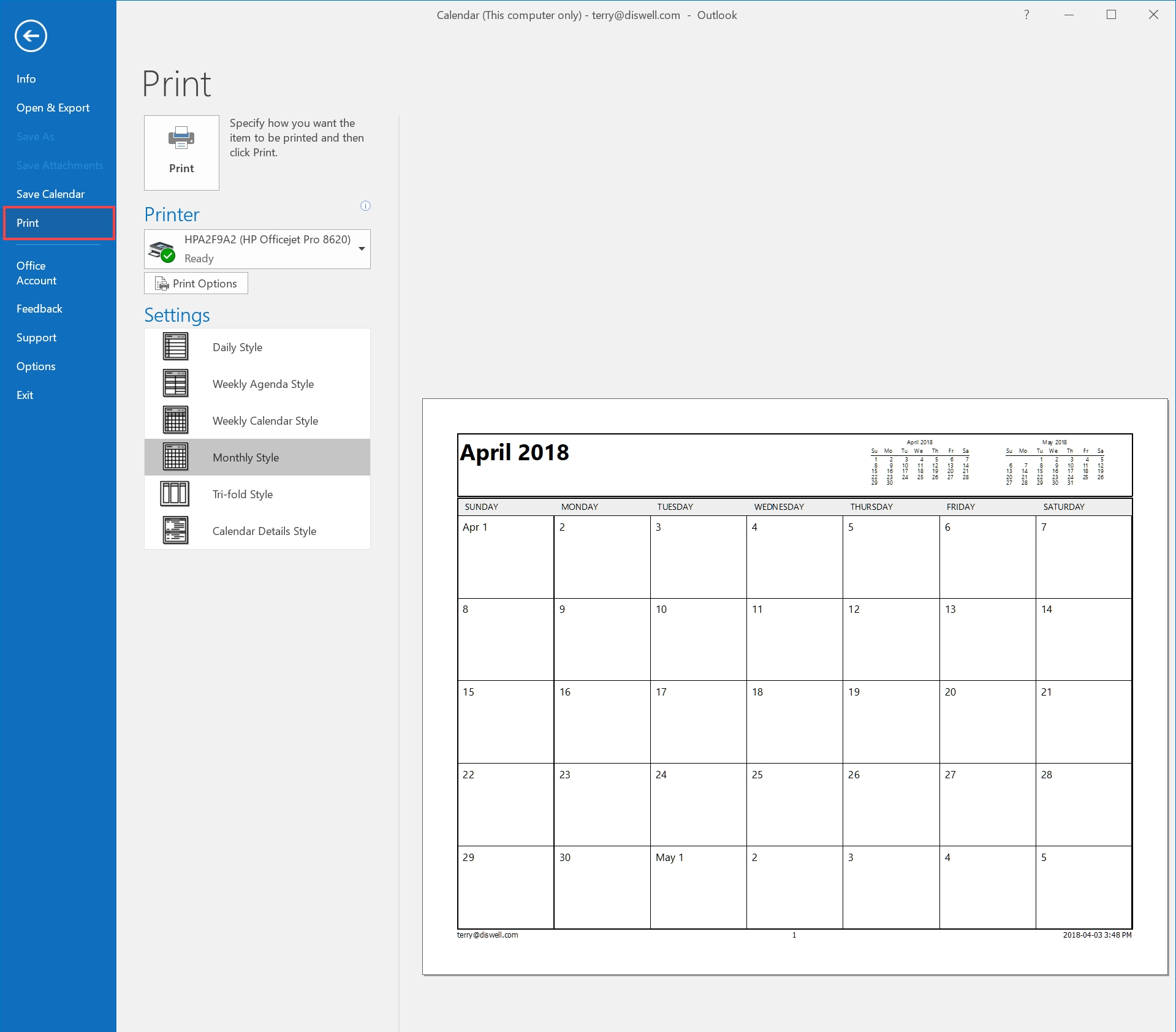 How To Email Or Print Your Calendar In Outlook 2016 - Hostpapa Printing Calendar From Office 365
