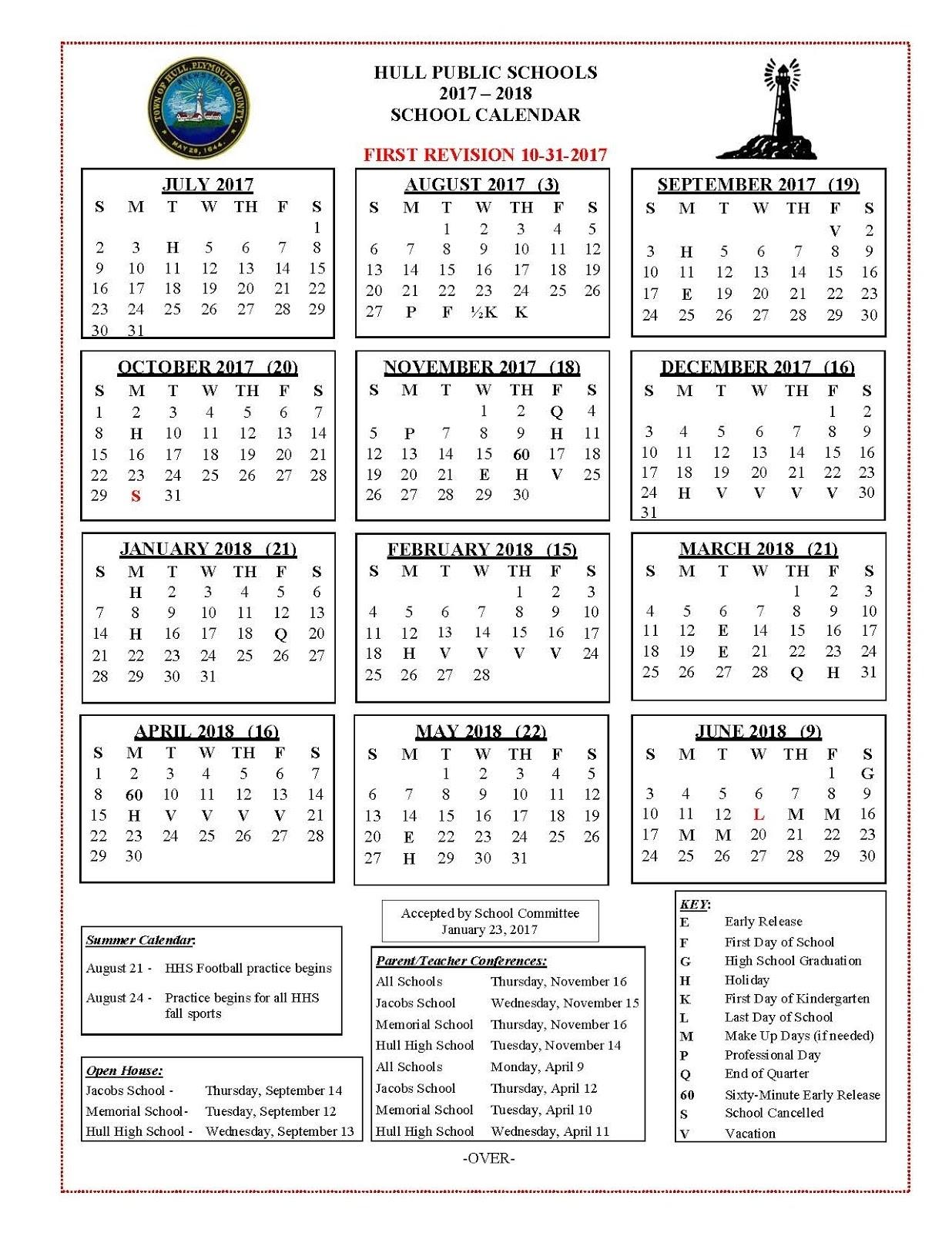 Hull Public Schools Blog: 2017 Extraordinary School Calendar Lexington Ma