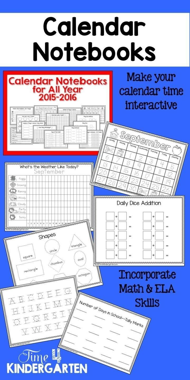Interactive Calendar Notebooks For All Year 2018-2019 | Kinderland Calendar Journal Template Kindergarten
