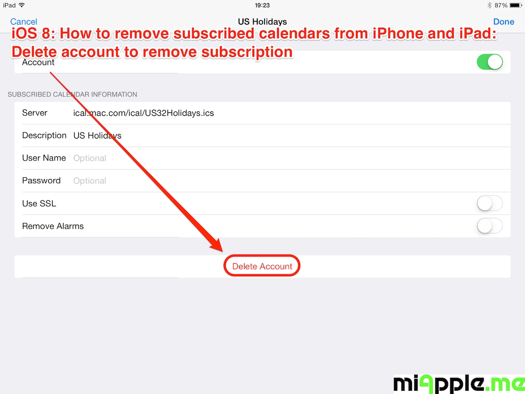 Ios: How To Remove Subscribed Calendars From Iphone And Ipad Apple Calendar Remove Holidays