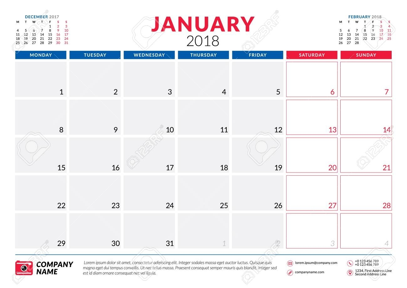 January 2018. Calendar Planner Design Template. Week Starts On Calendar Template Starting With Monday