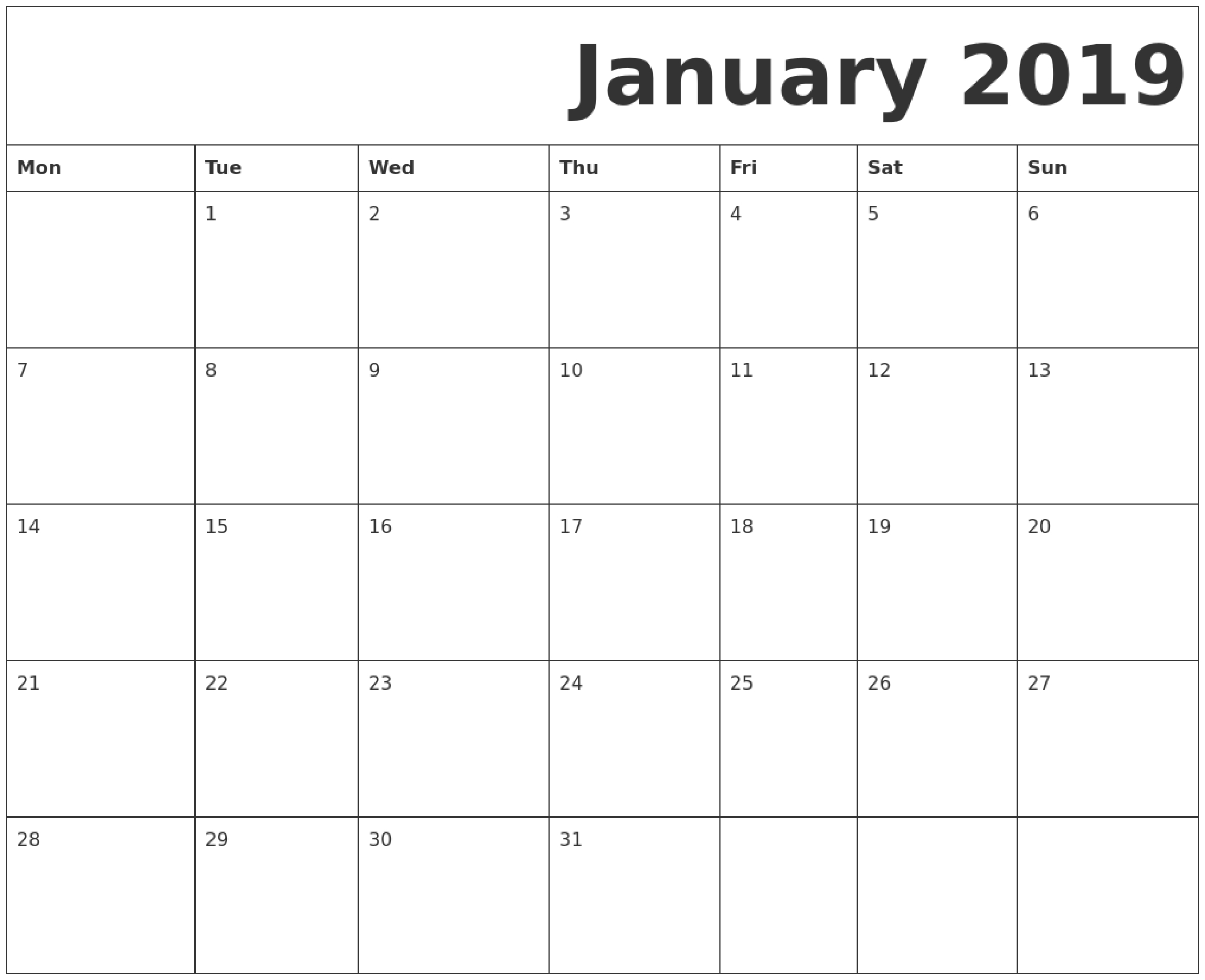 January 2019 Printable Calendar Monday Start. | January 2019 Calendar Template Starting With Monday