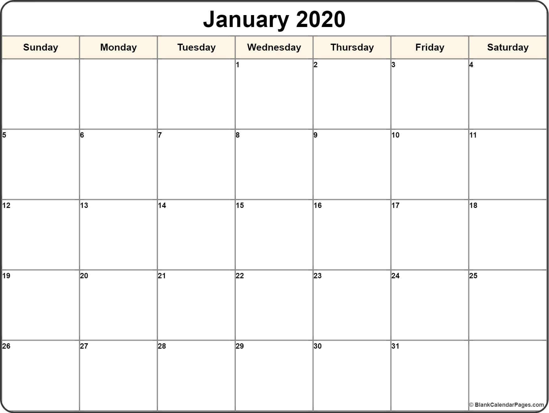 January 2020 Calendar | Free Printable Monthly Calendars Free Printable Calendar January 2020
