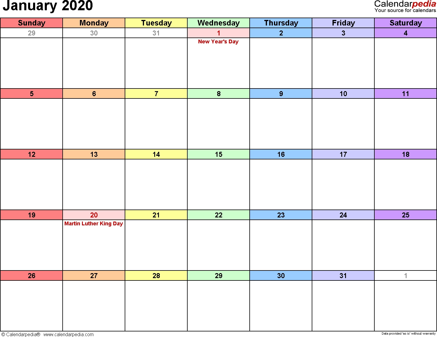 January 2020 Calendars For Word, Excel & Pdf Free Printable Calendar January 2020