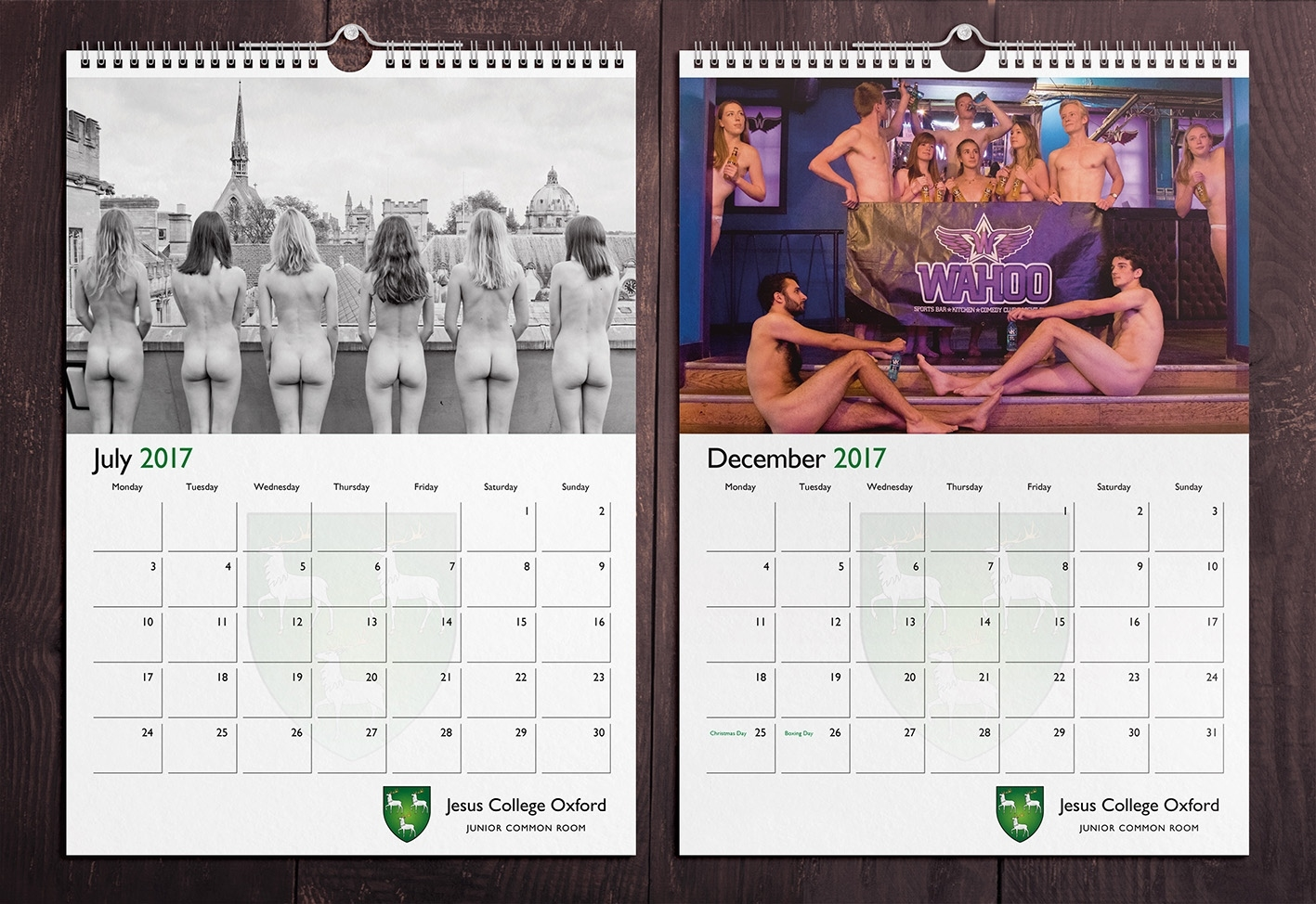 Jesus College Oxford Naked Charity Calendar | Colour Calendars Uk Calendar Printing For Charity