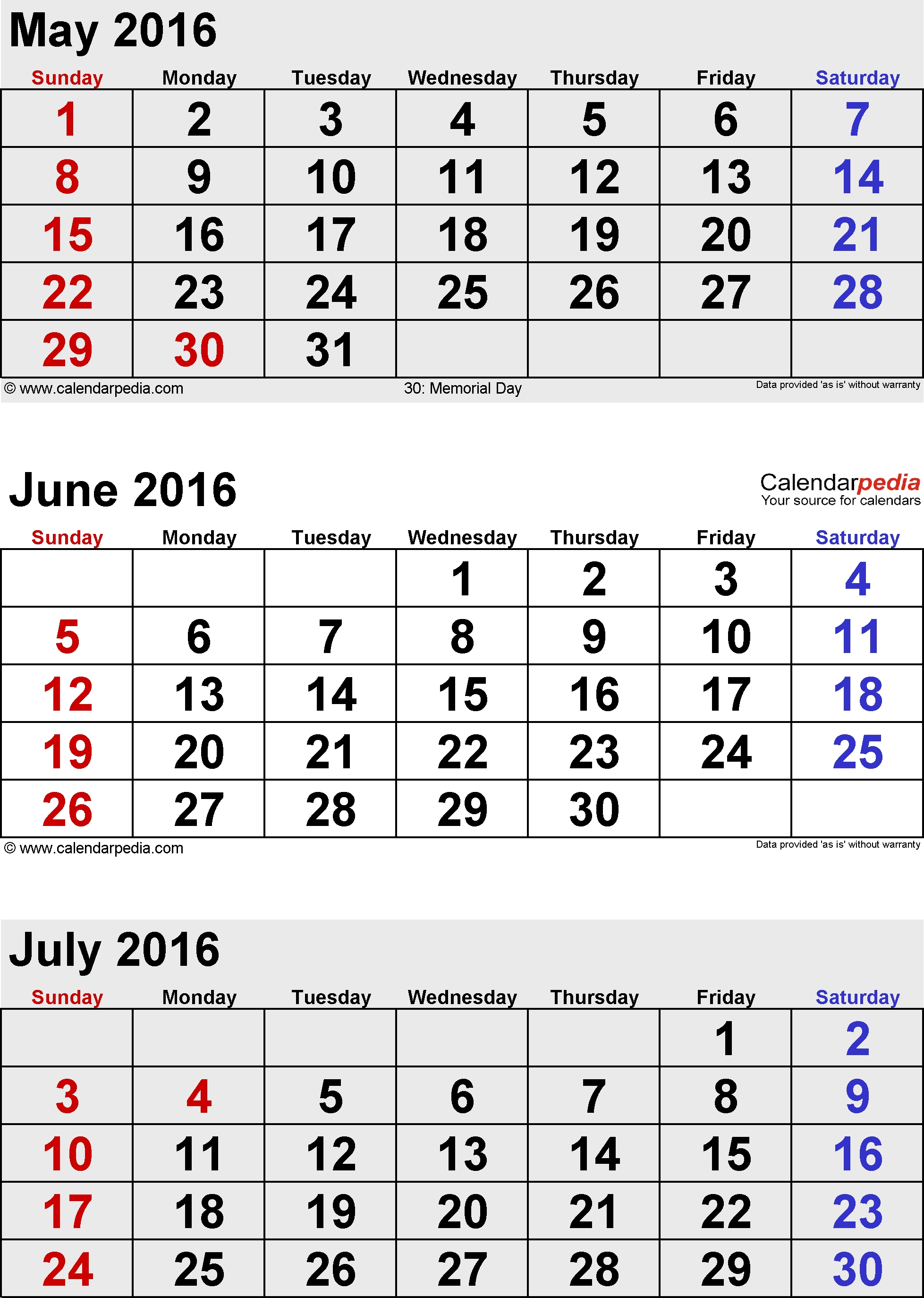 July 2016 Calendars For Word, Excel & Pdf 3 Month Calendar With Holidays