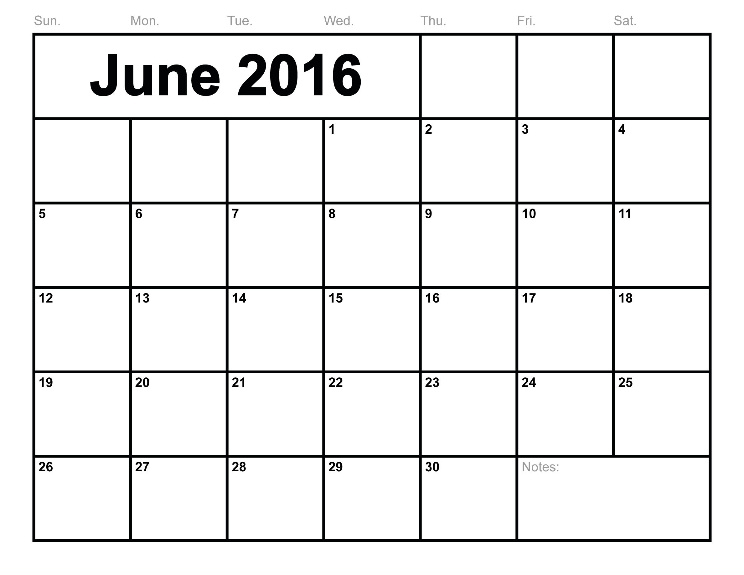 June-2016-Calendar-Printable-Free-Blank-Calendar-2016-Monthly Monthly Calendar To Print Free