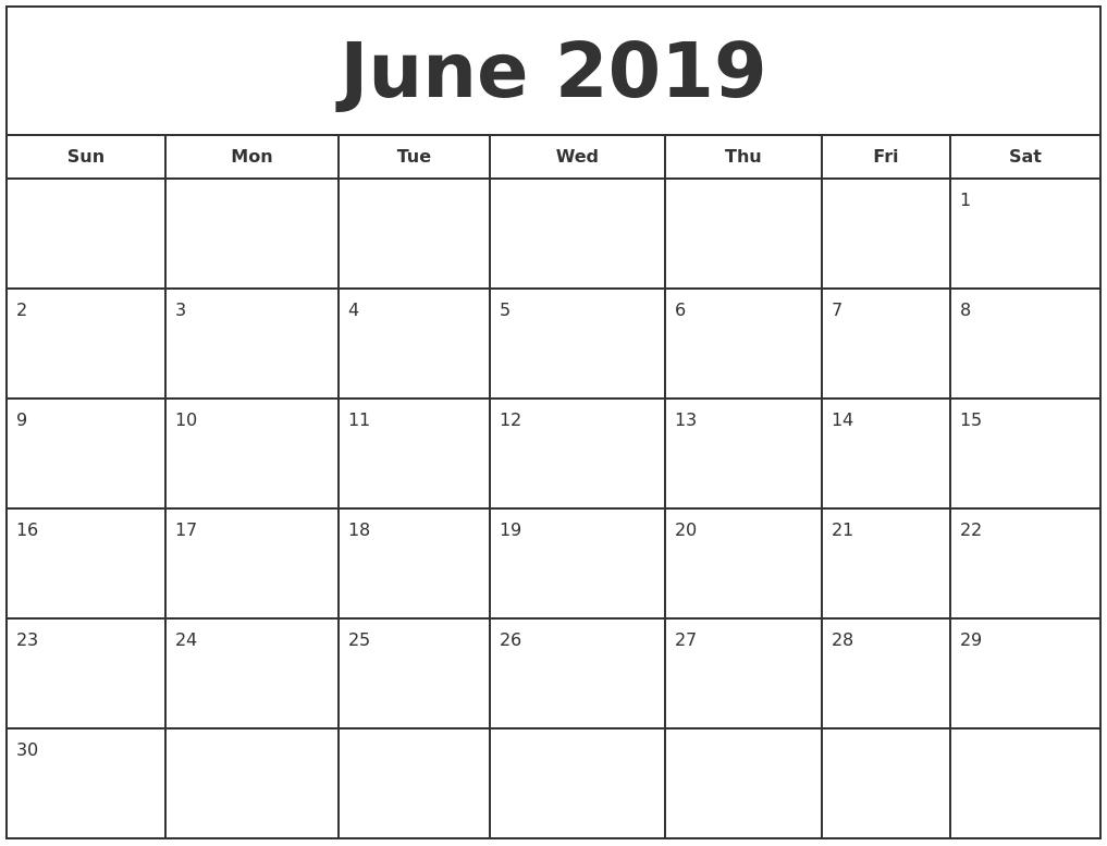 June 2019 Print Free Calendar Monthly Calendar To Print Free