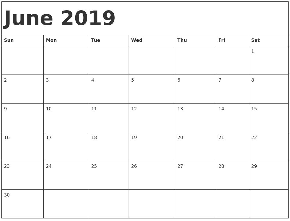 June 2019 Printable Calendar Templates - Free Pdf Holidays - Free Print At Home Calendar Templates