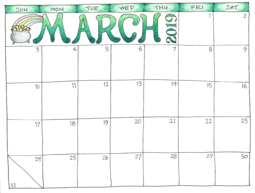 March 2019 Printable Calendar For Kids #marchcalendar Incredible Print Blank Calendar Office 365