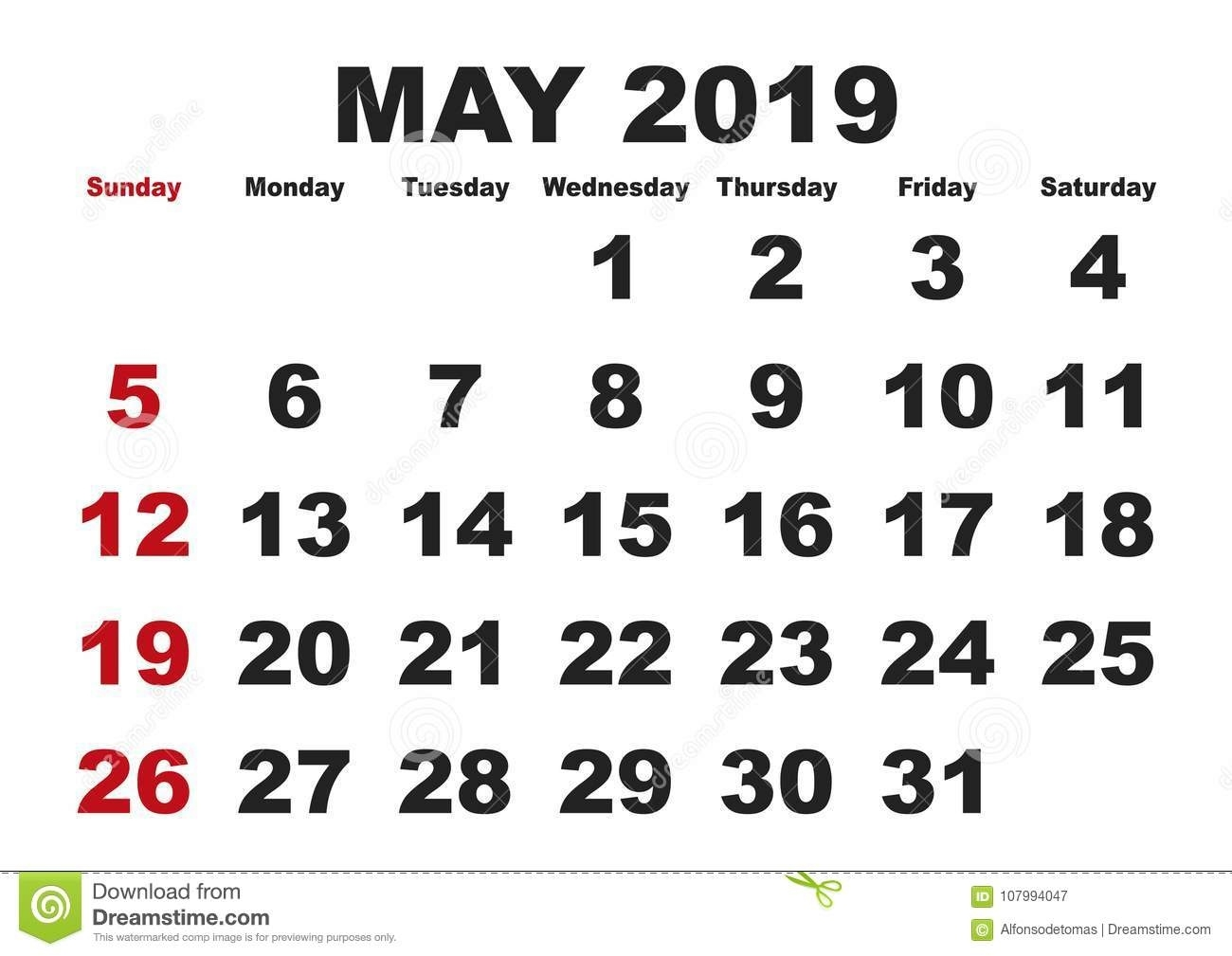 May Month Calendar 2019 English Usa Stock Vector - Illustration Of Is A Calendar Month 4 Weeks