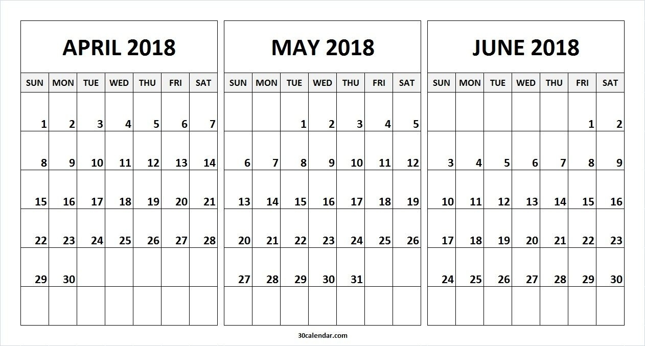 Month Of April May June 2018 Calendar | 2018 Calendar | Quarterly C Program To Print Calendar Of Month July