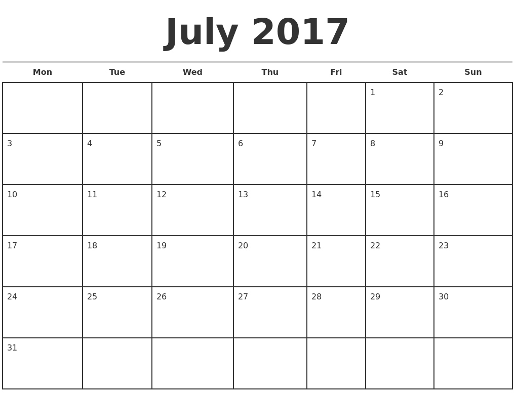 Monthly Calendar Starting With Monday | Year Printable Calendar Calendar Template Starting With Monday