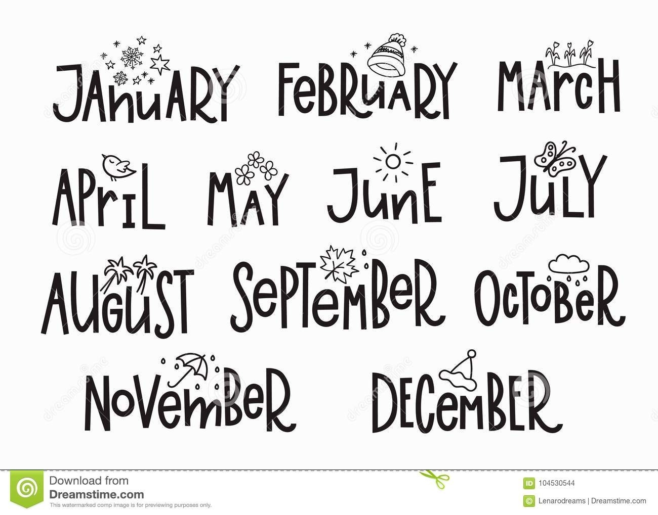Months Year Calendar Lettering Typography Stock Illustration Months Of Year Calendar