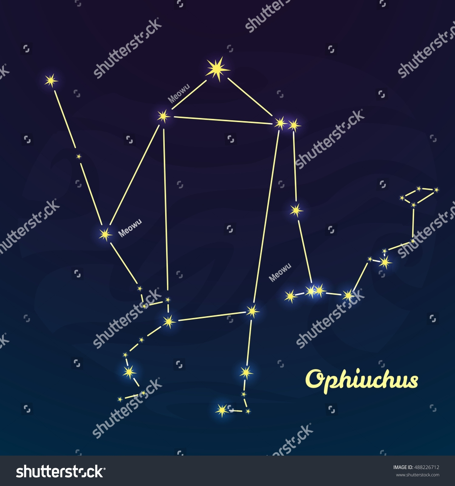 New Zodiac Sign Ophiuchus Vector Illustration Stock Vector (Royalty New Zodiac Calendar Ophiuchus
