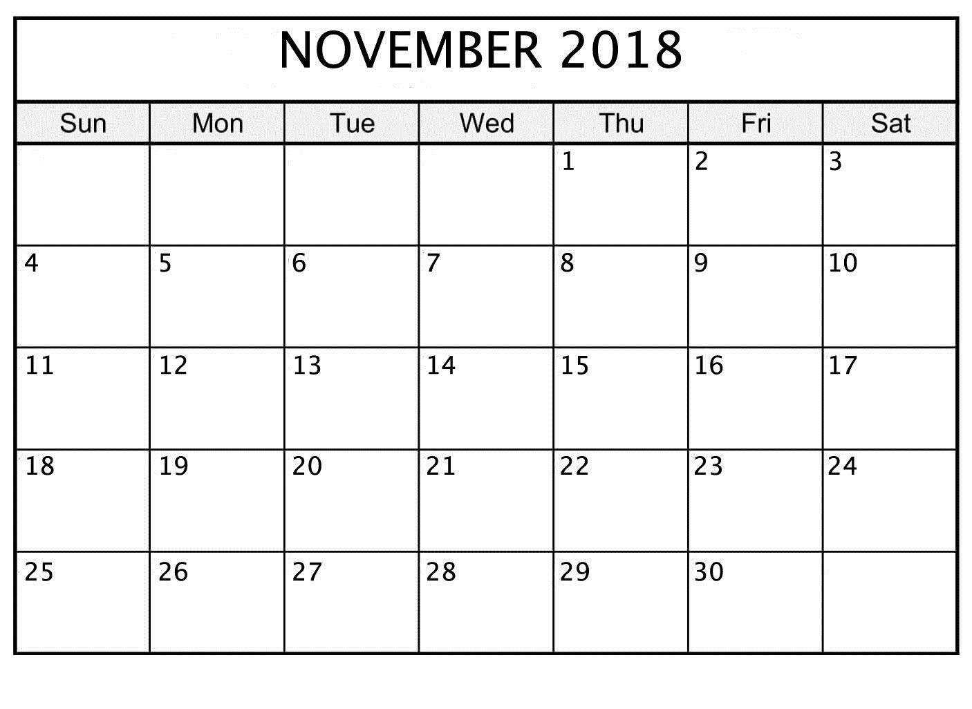 November 2018 Printable Calendar Date And Time | November 2018 Calendar Template Date And Time