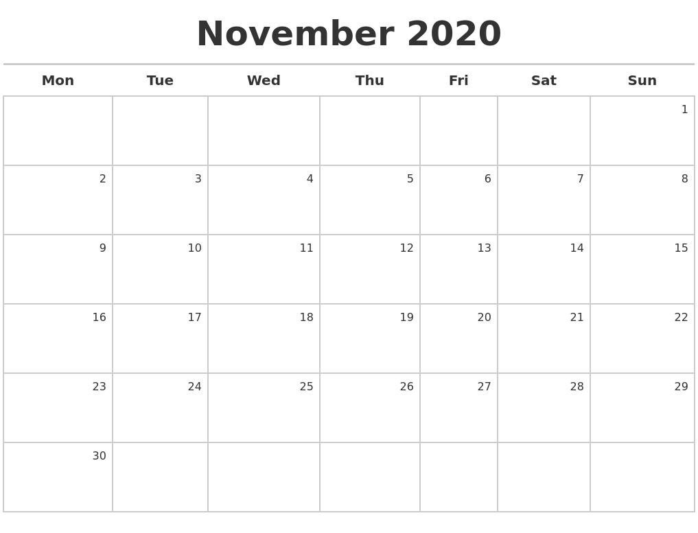 November 2020 Calendar Maker November 3 2020 Calendar