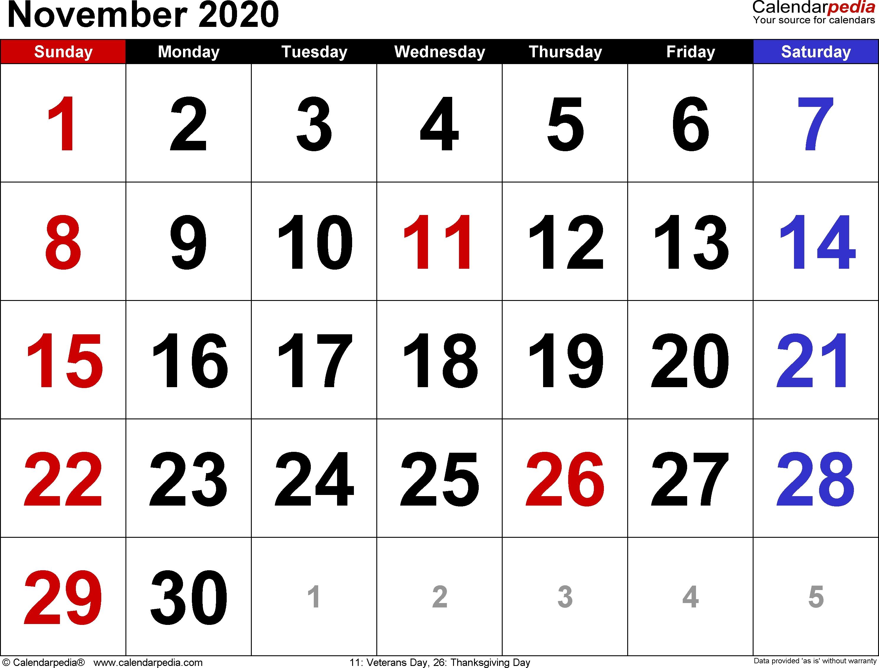 November 2020 Calendars For Word, Excel & Pdf Dashing November 3 2020 Calendar