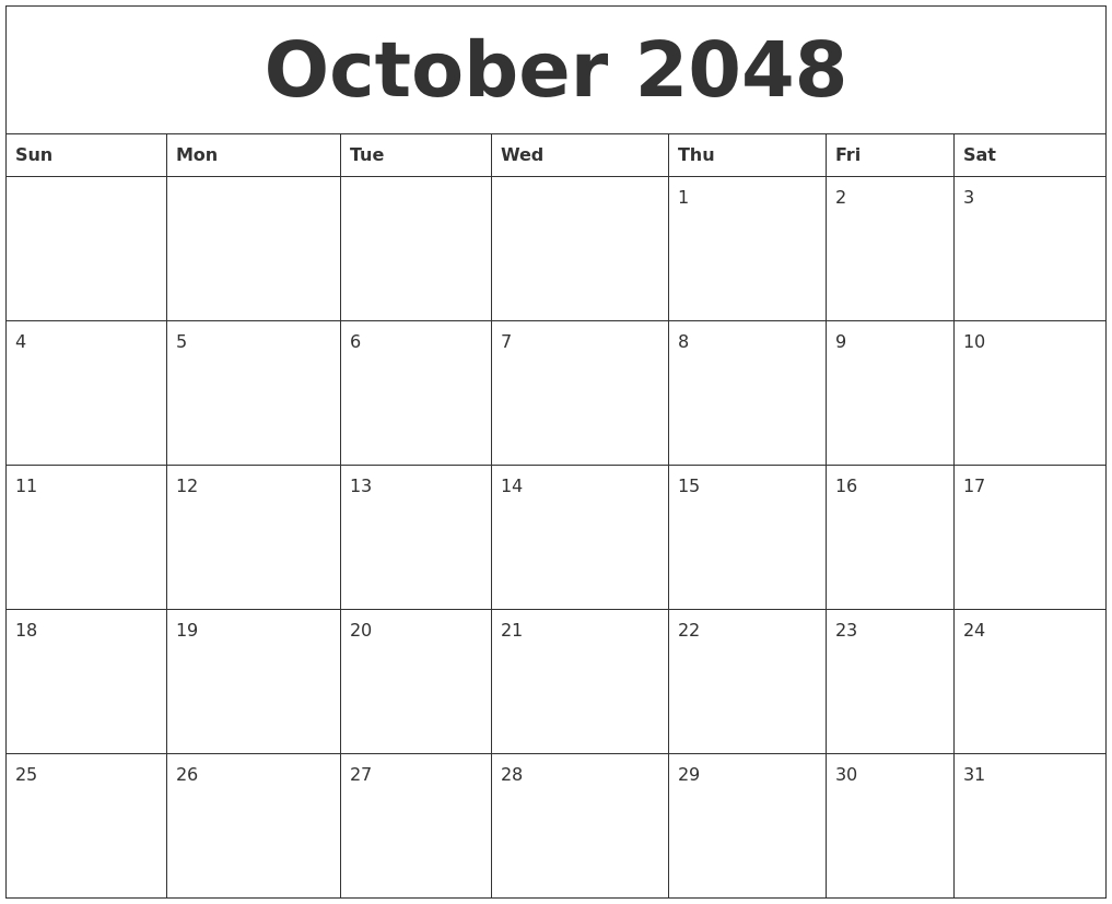 October 2048 Free Monthly Calendar Template Exceptional Blank Calendar Template By Month