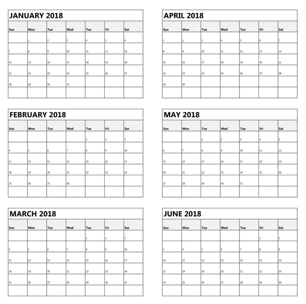 One Page 6 Month Calendar 2018 | Maxcalendars | Calendar 2018 6 Month Calendar Blank