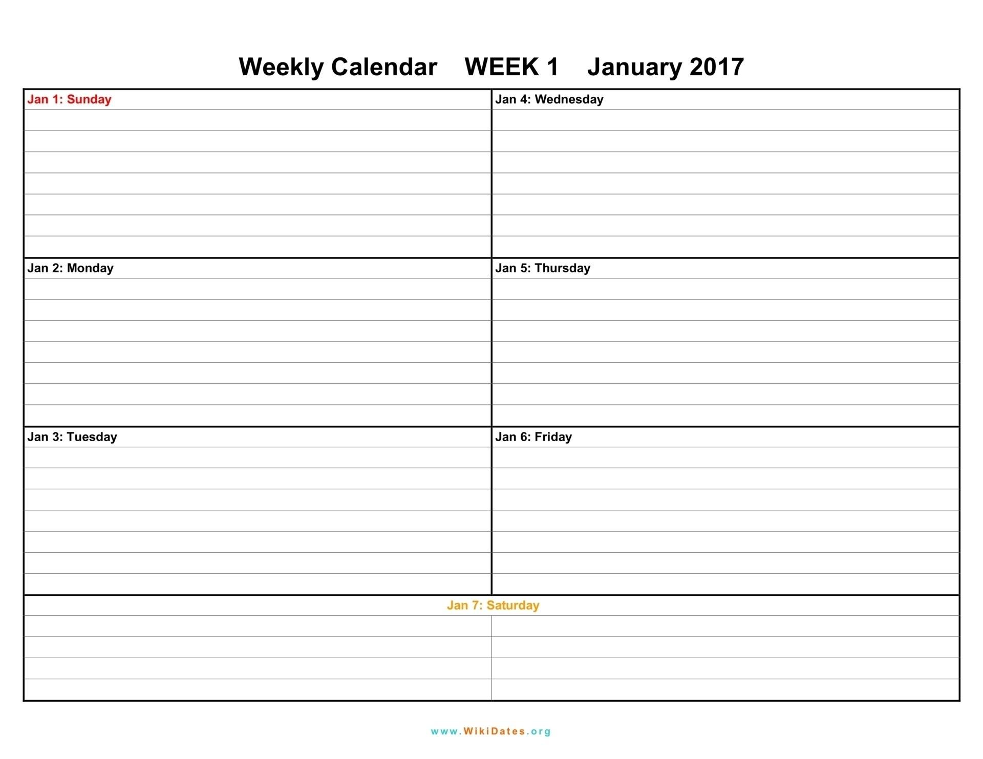 One Week Calendar – Celo.yogawithjo.co 1 Week Blank Calendar Calendar Template 1 Week
