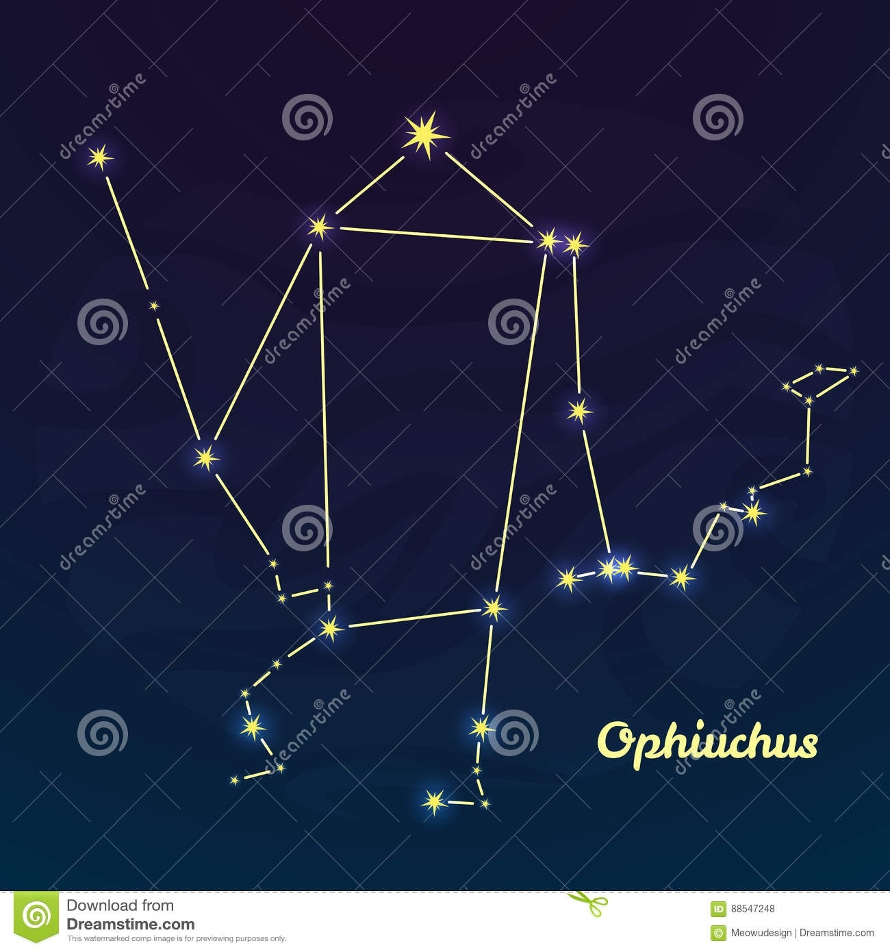 Ophiuchus Constellation Vector Illustration Stock Vector New Zodiac Calendar Ophiuchus