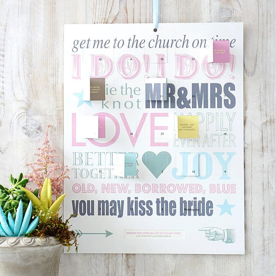 Personalised Wedding Countdown Calendar By Modo Creative Wedding Countdown Calendar Uk