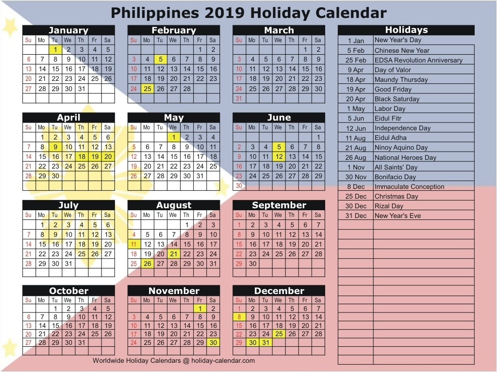 Philippines 2019 / 2020 Holiday Calendar 2020 Calendar Philippines With Holidays