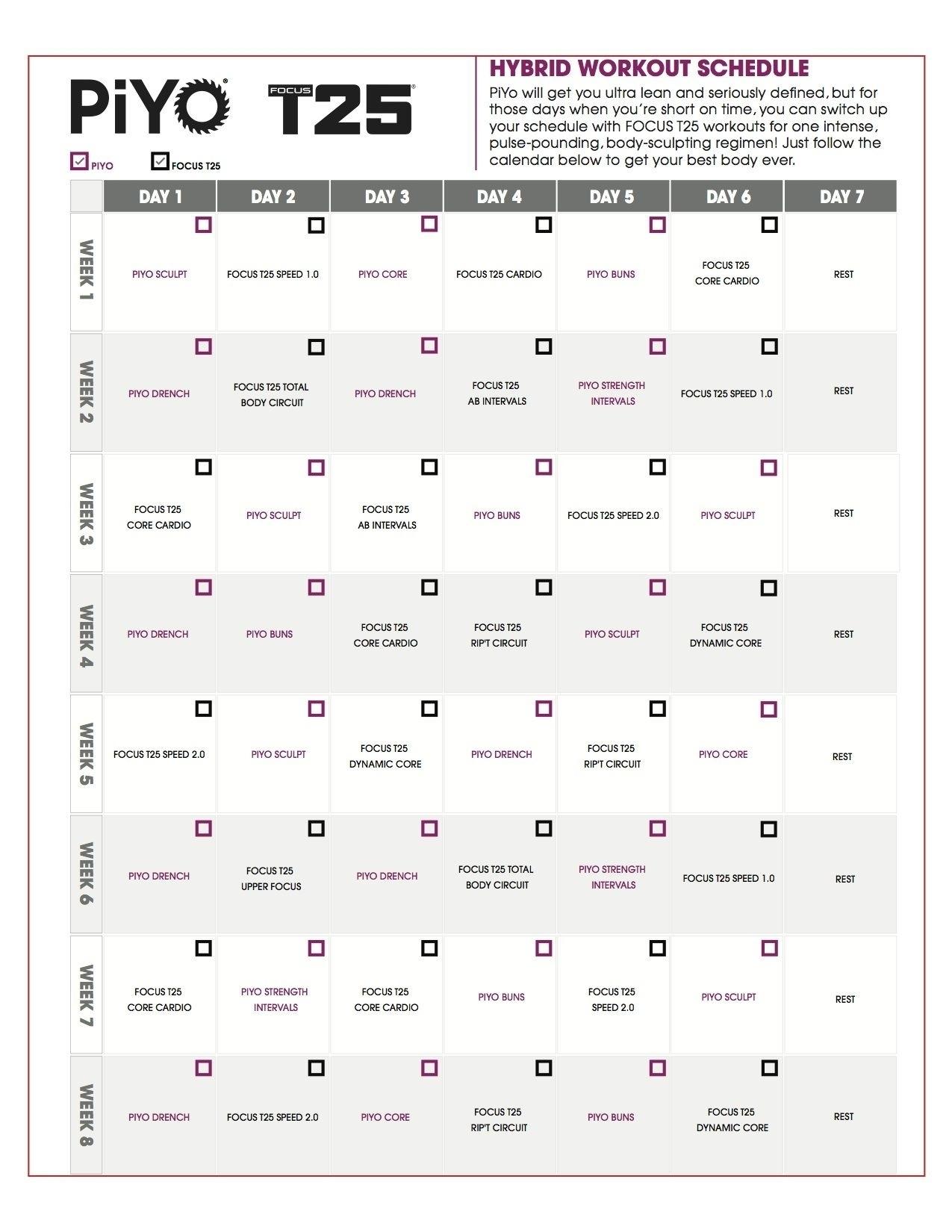 Piyo Calendar Month 1 • Printable Blank Calendar Template Piyo Calendar Month 3