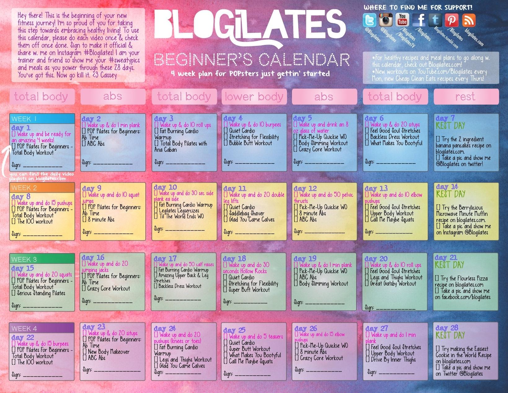Pop Pilates For Beginners Calendar! – Blogilates Y Pant School Calendar