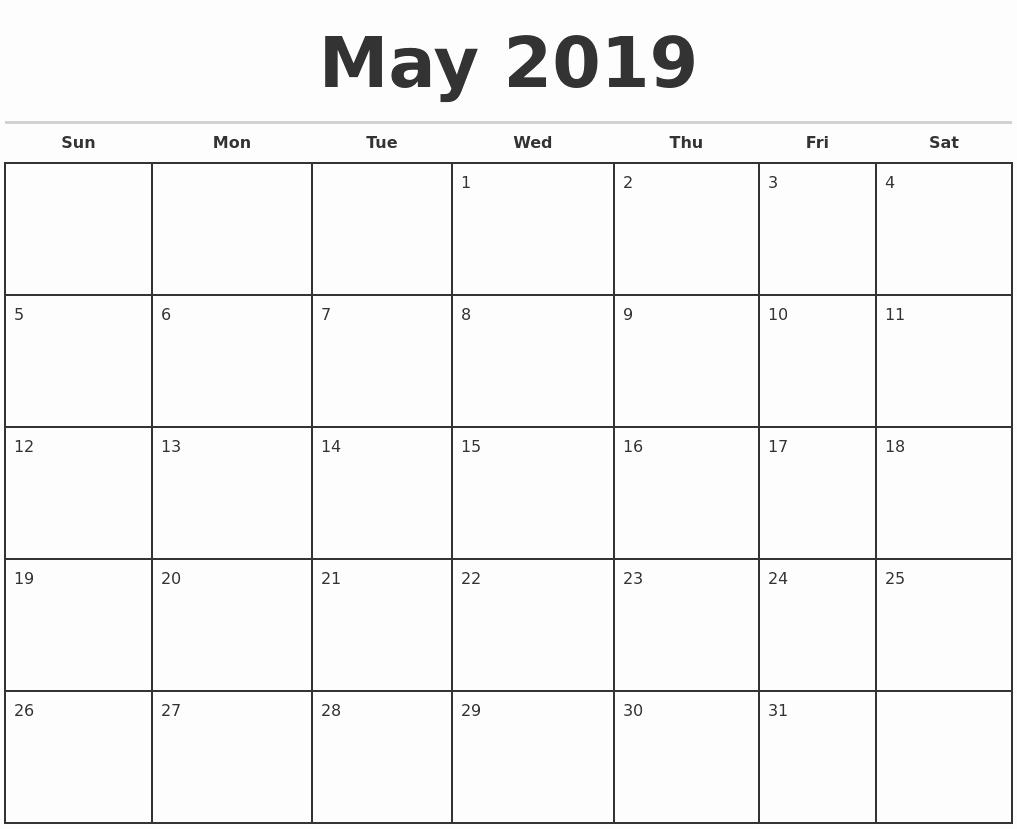 Print 2019 Monthly Calendar Calendar 2019 Printable Free 12 Monthly Monthly Calendar To Print Free