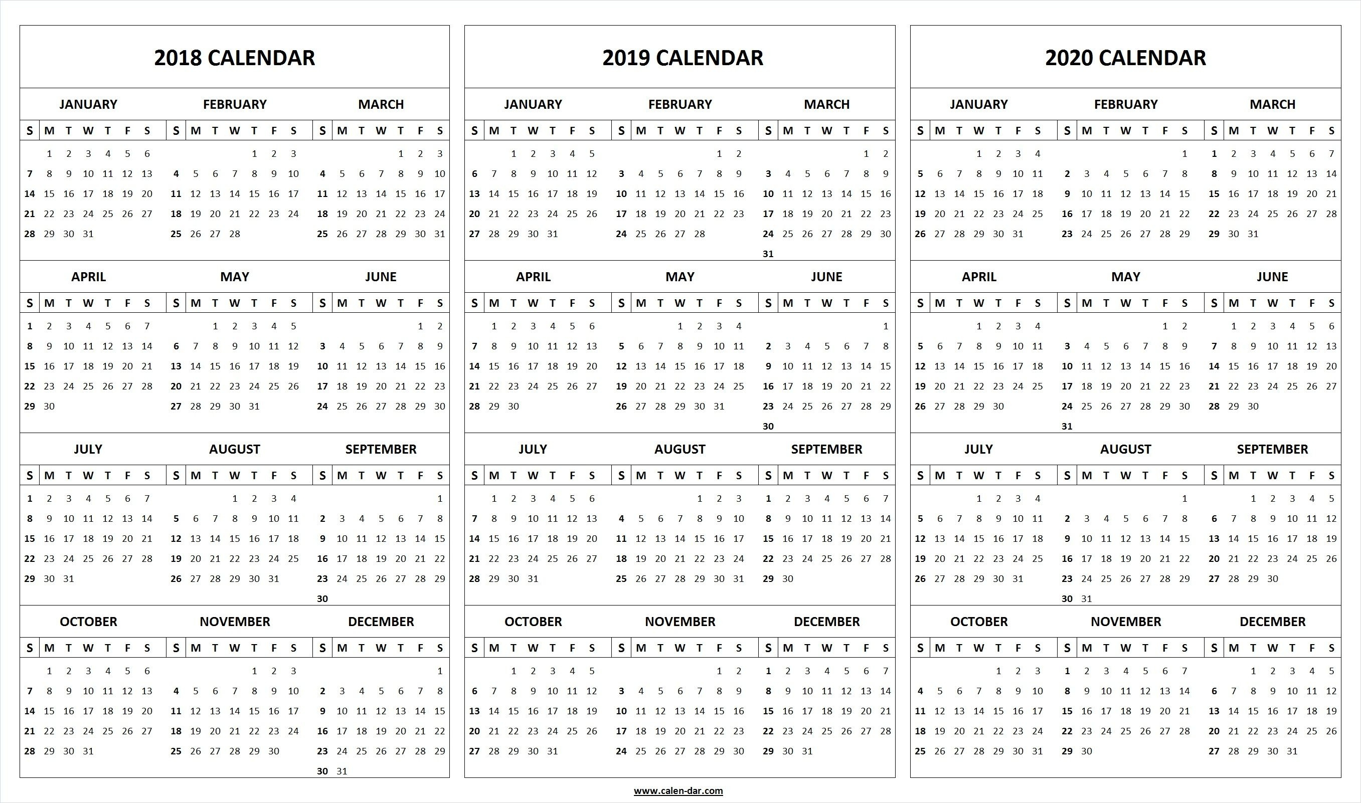 Print Blank 2018 2019 2020 Calendar Template | Organize! | Calendar Free Printable 2020 Yearly Calendar With Holidays