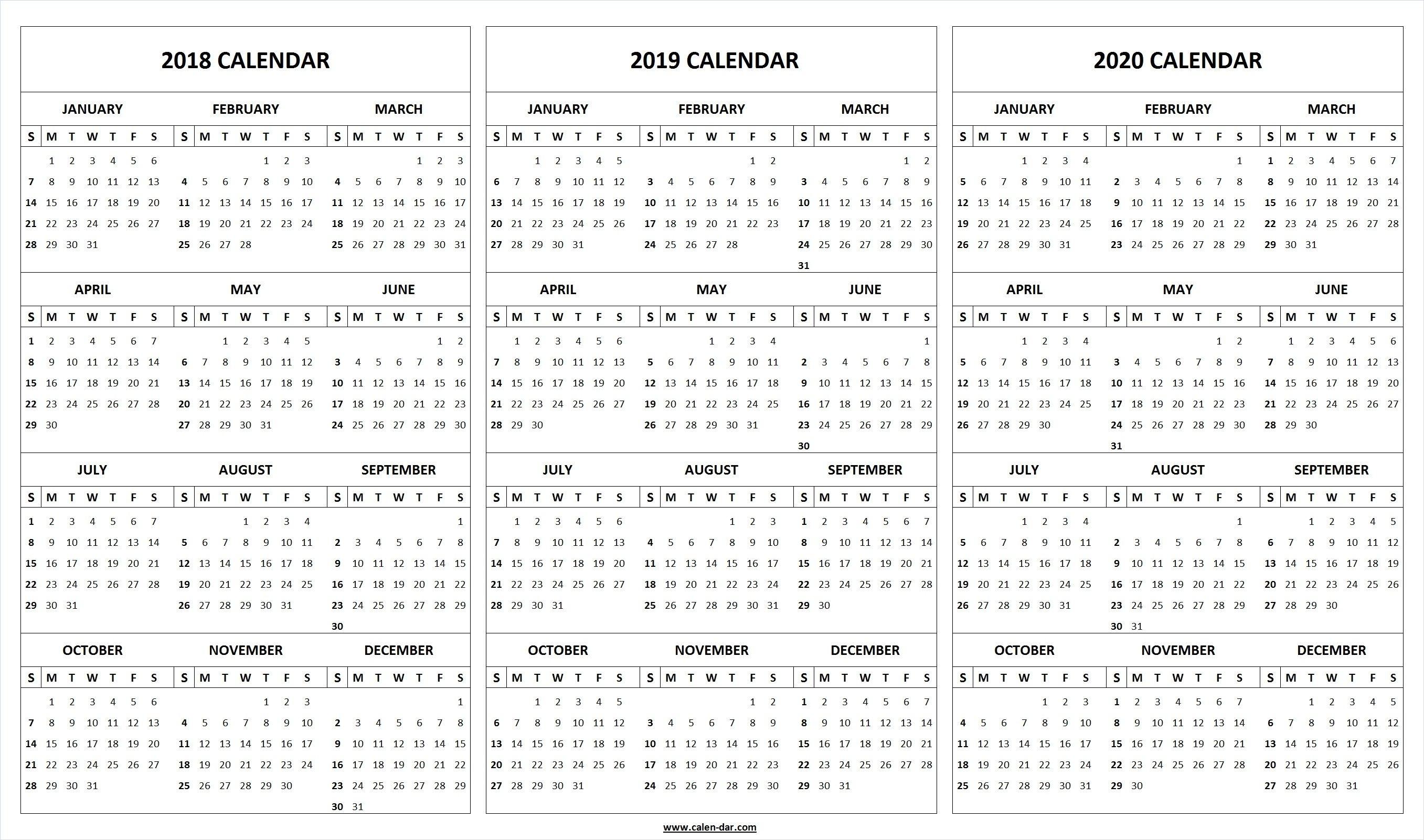 Print Blank 2018 2019 2020 Calendar Template | Organize! | Calendar Remarkable 2020 Yearly Calendar Template Word