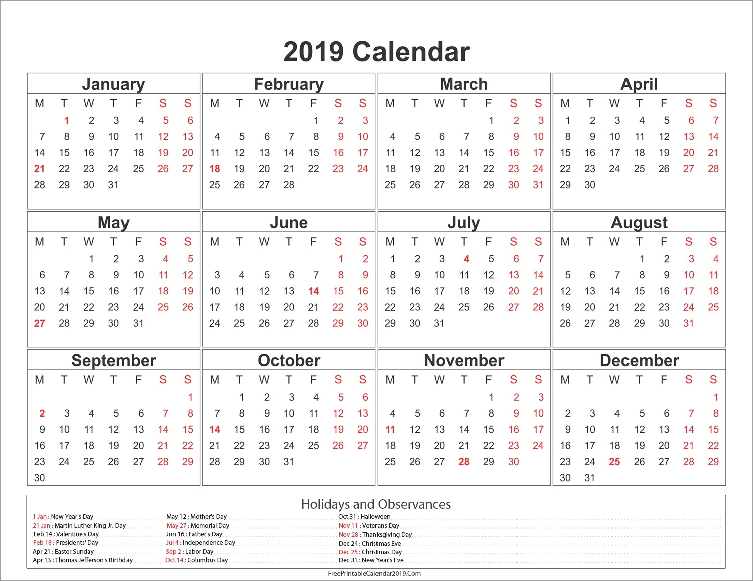 Printable 2019 Monthly Calendar With Us Holidays Free Printable 3 Month Calendar With Holidays