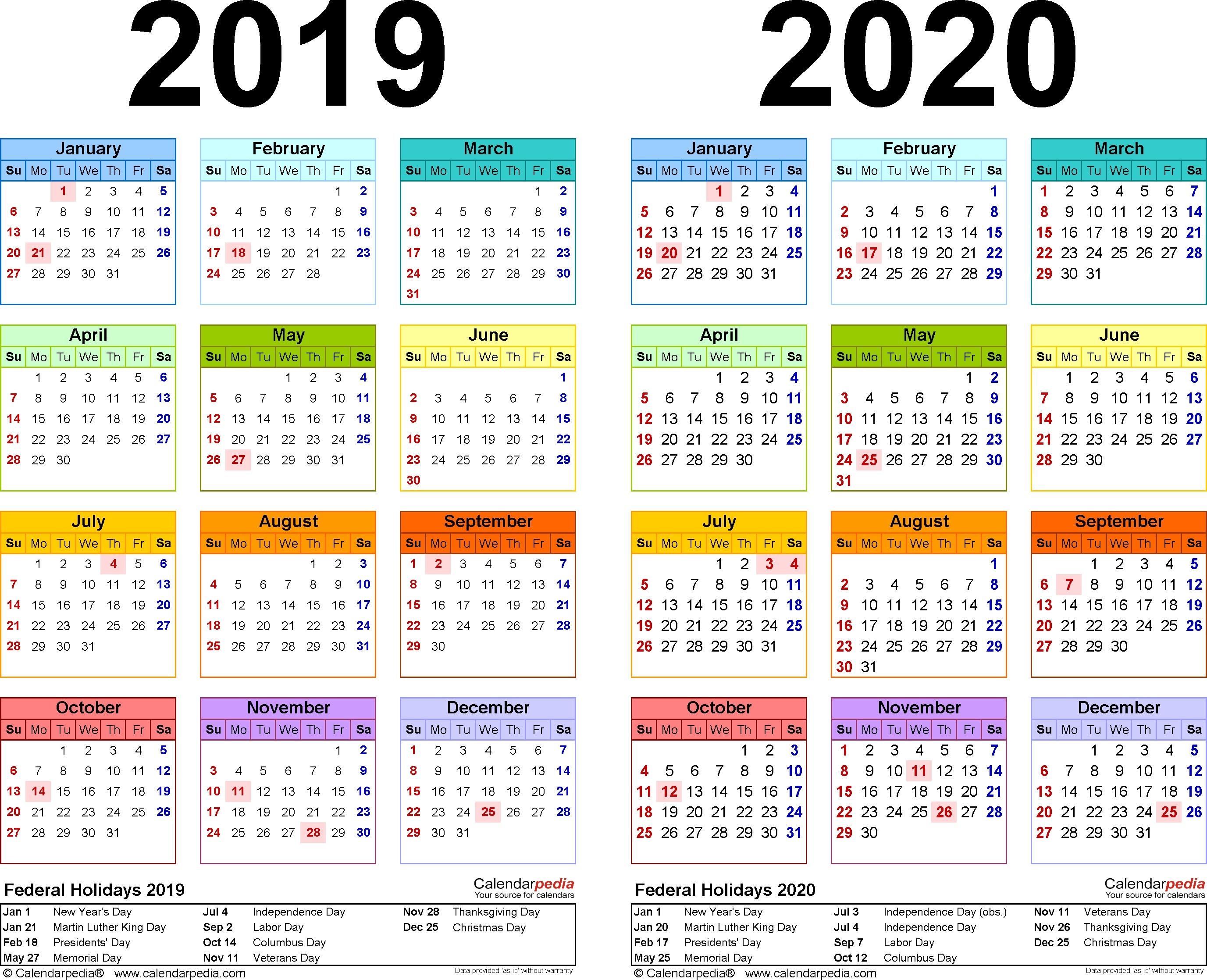 Printable 2020 Calendar With School Holidays 2019 2020 Calendar Free 2020 Calendar School Holidays