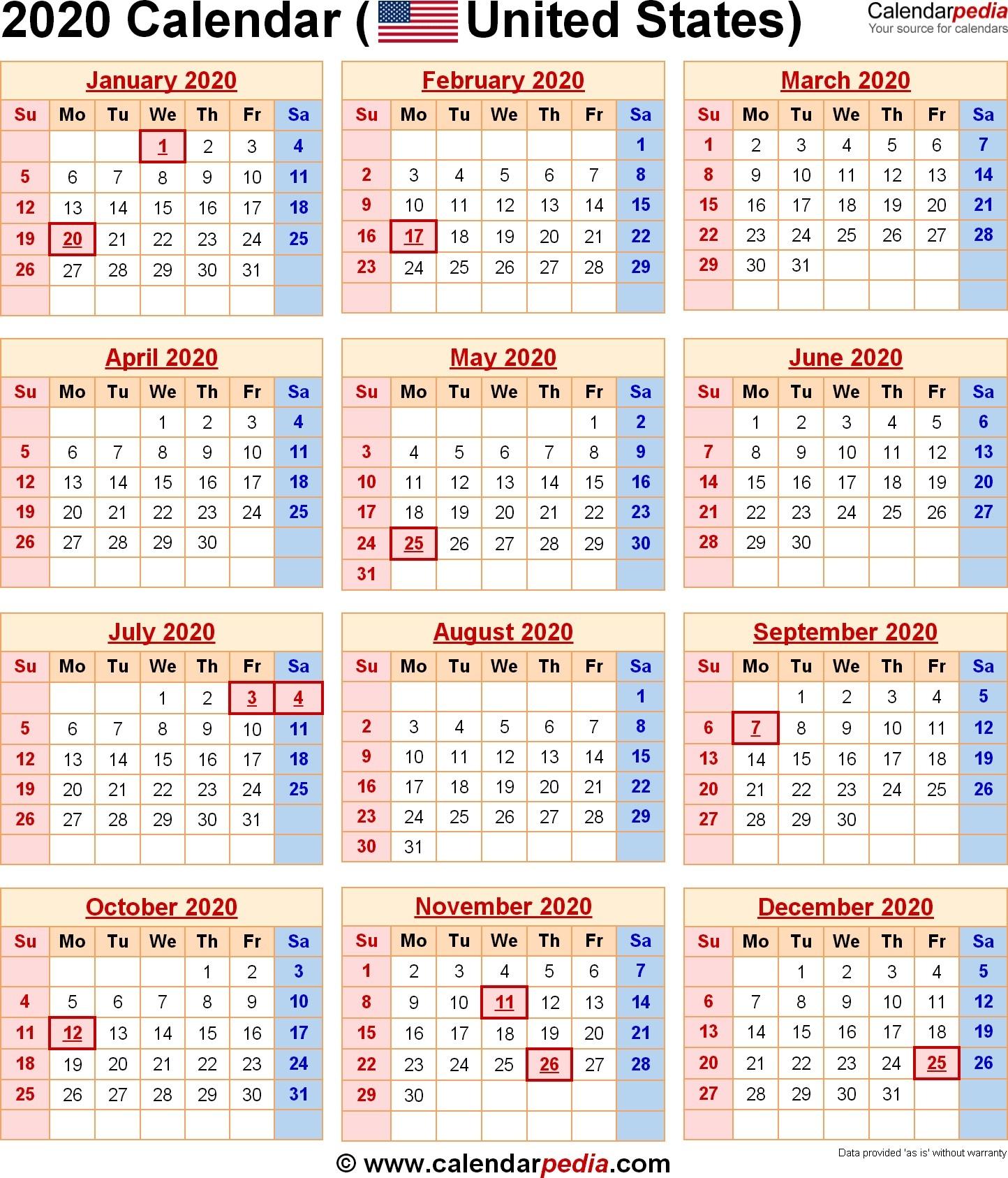 Printable 2020 Calendar With School Holidays 2020 Calendar With 2020 Calendar School Holidays