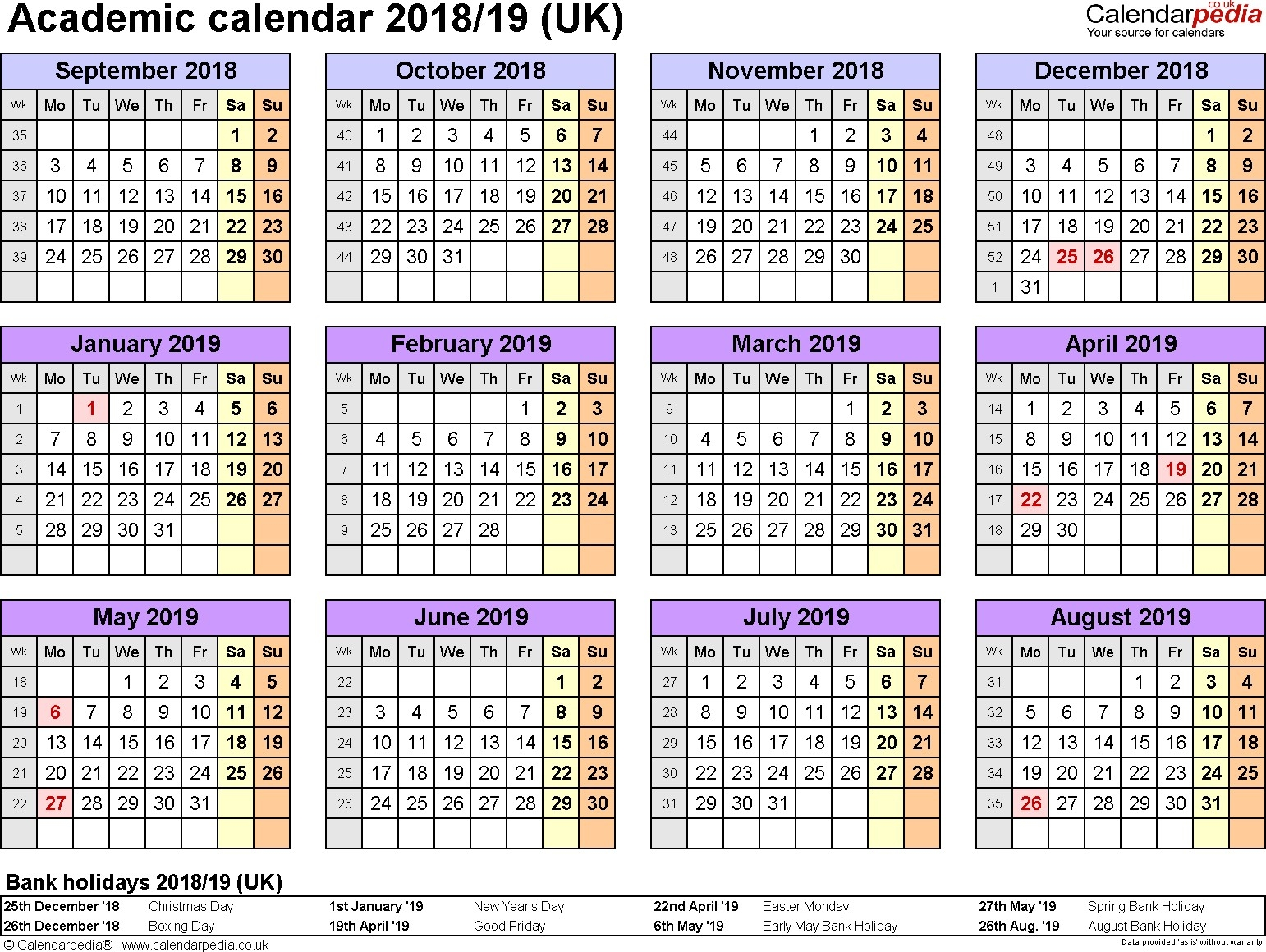 Printable Academic Calendar 2020-18 2018 Year Calendar Uk Printable May 2020 Calendar Uk