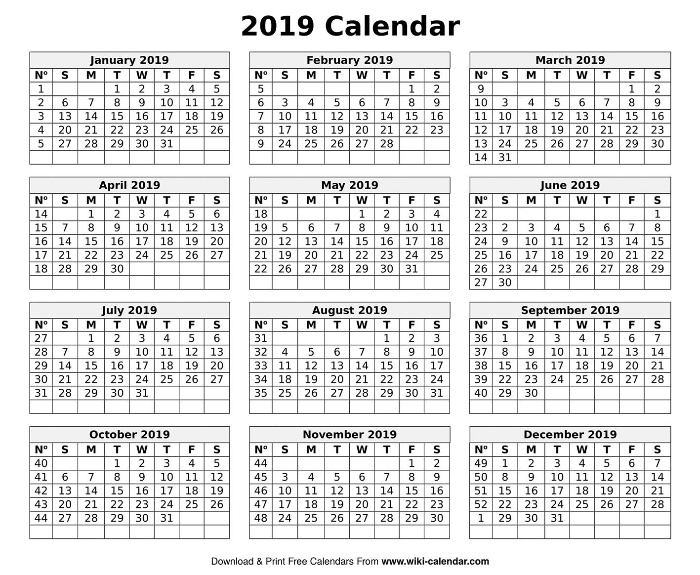 Printable Blank 2019 Calendar Templates Print At Home Calendar Templates