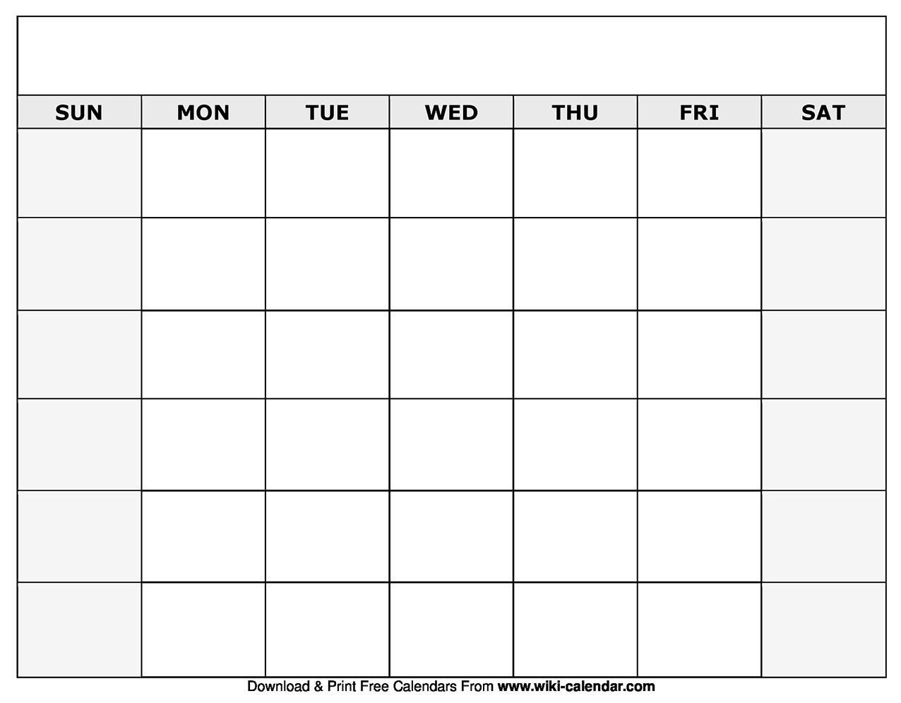 Printable Blank Calendar Templates Exceptional Blank Calendar By Month