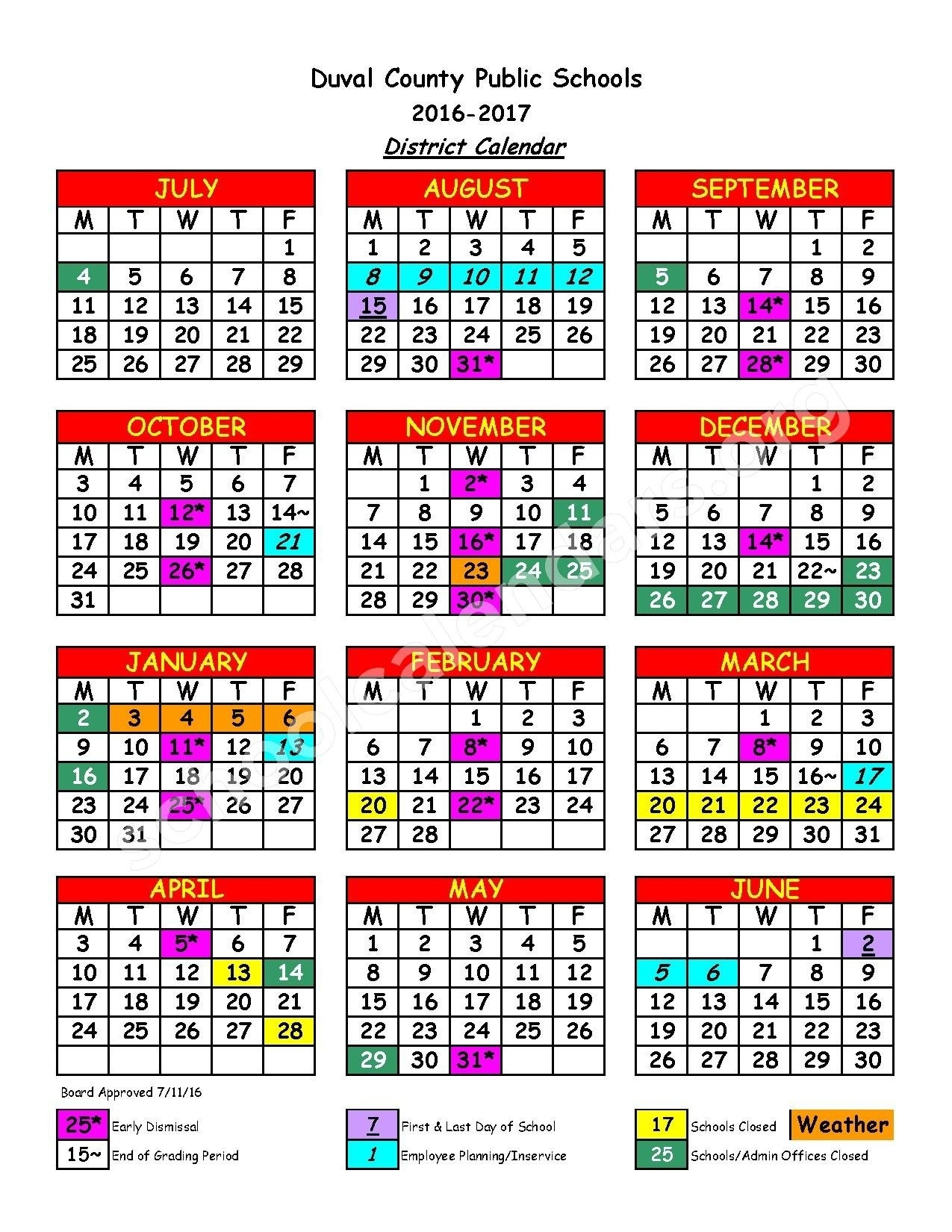Duval County School Calendar 2016 2020 Exceptional School Calendar For Duval County • Printable Blank