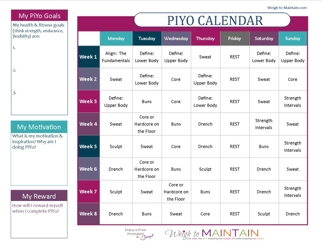 Printable Piyo Calendar And Workout Schedule | Health | Workout Piyo Calendar Month 3
