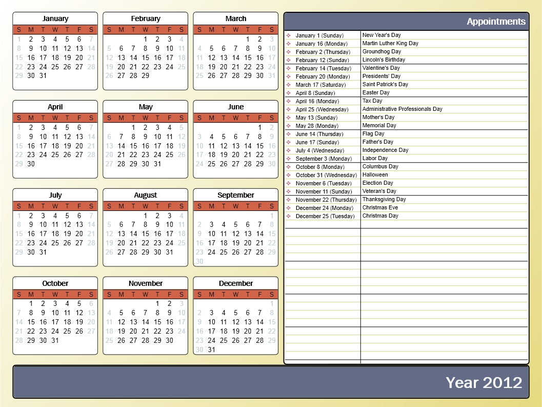 Printing A Yearly Calendar With Holidays And Birthdays - Howto-Outlook Month Calendar Get Selected Date C