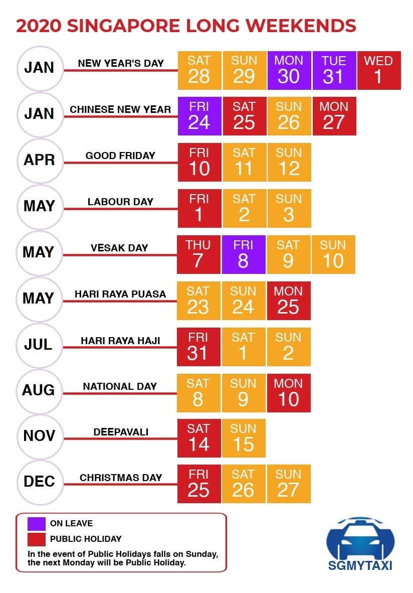 Public & School Holidays Singapore 2019 & 2020 (19 Long Weekends) 2020 Calendar Holiday List