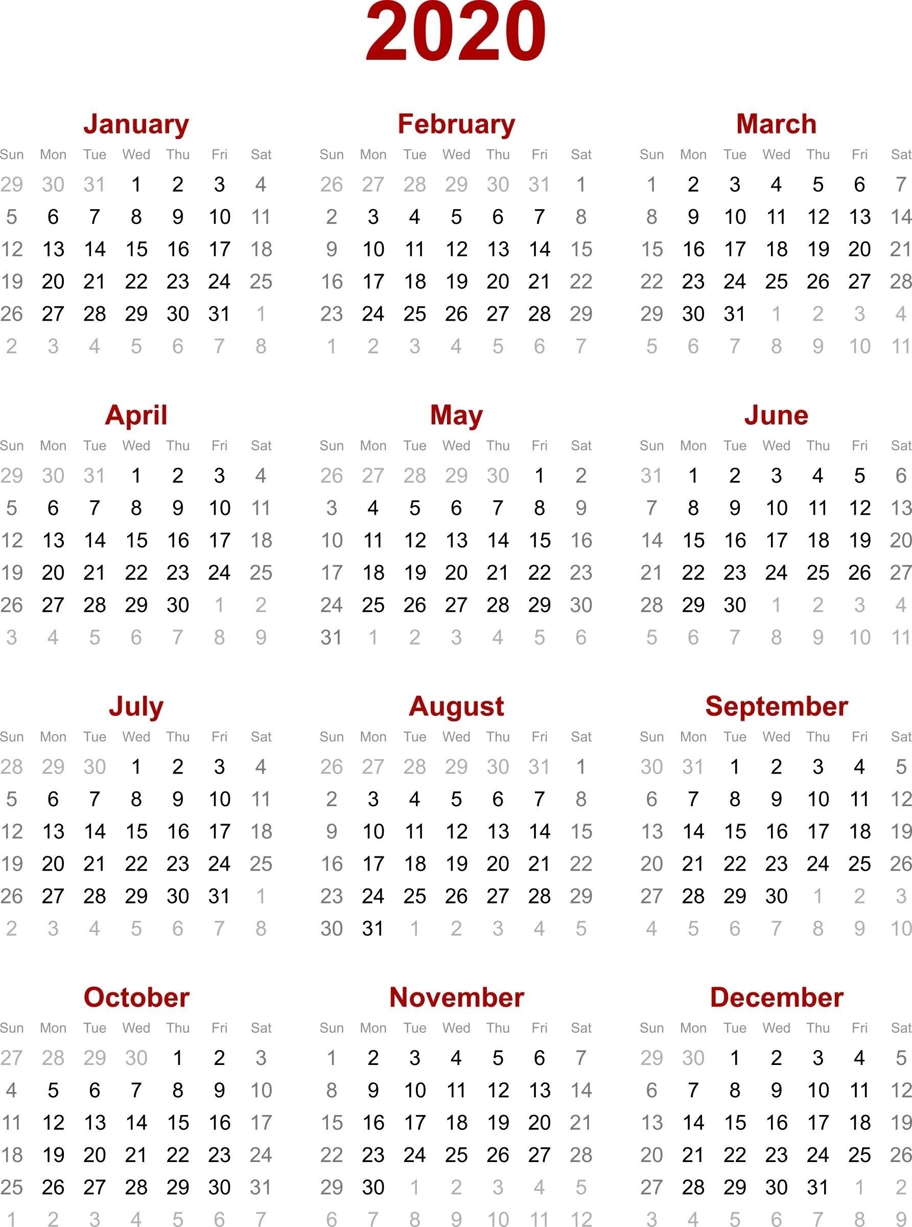 Remarkable 2020 Calendar Singapore Holiday • Printable Blank Remarkable 2020 Calendar Free Download