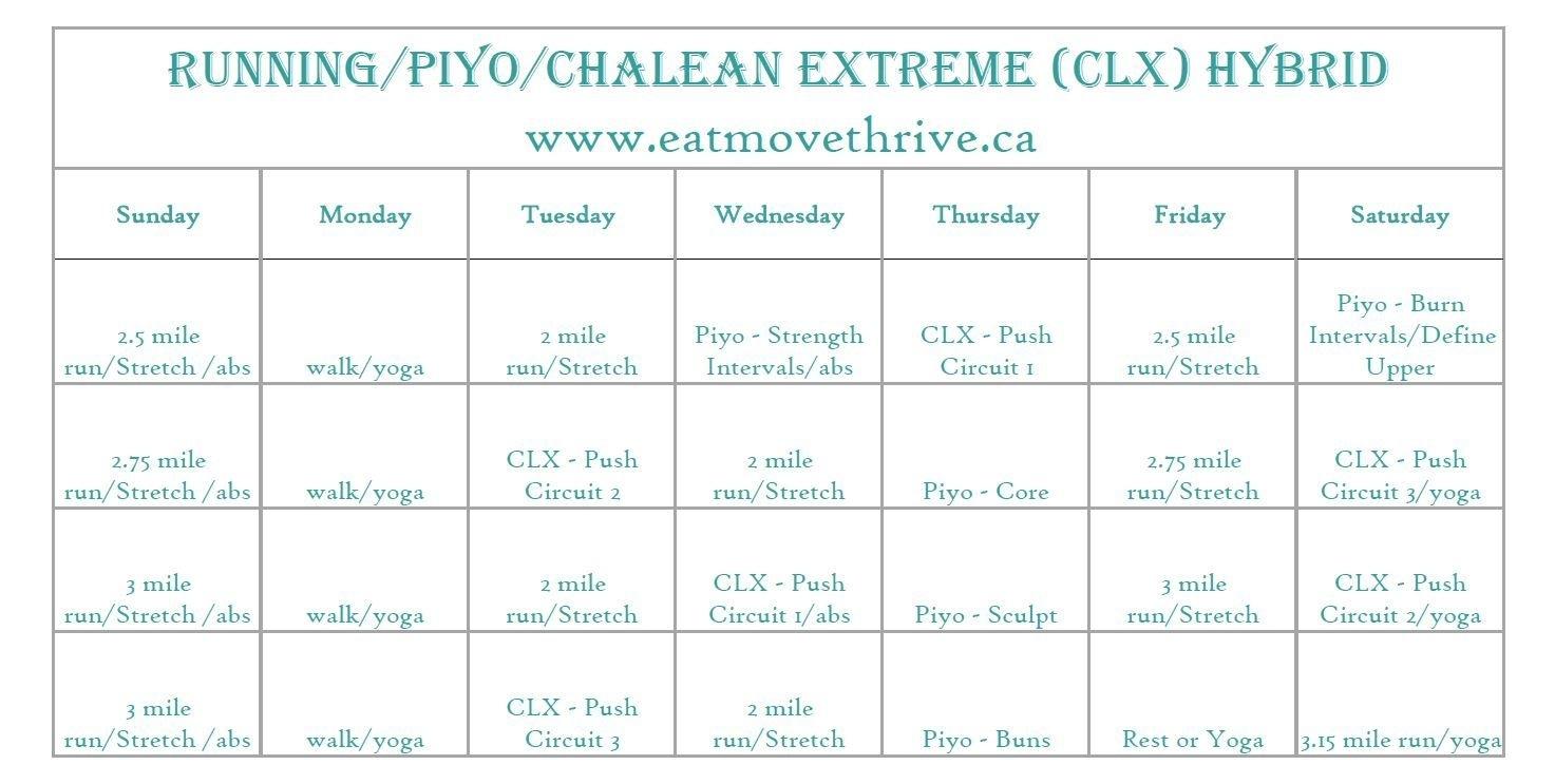 Running/piyo/chalean Extreme Hybrid Workout Calendar | I Love To Run Piyo Calendar Month 3