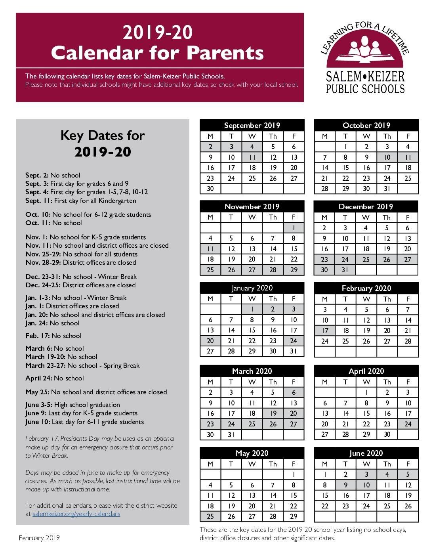 Salem-Keizer School Year Calendars   Salem-Keizer Public Schools Perky School Calendar Salem Keizer