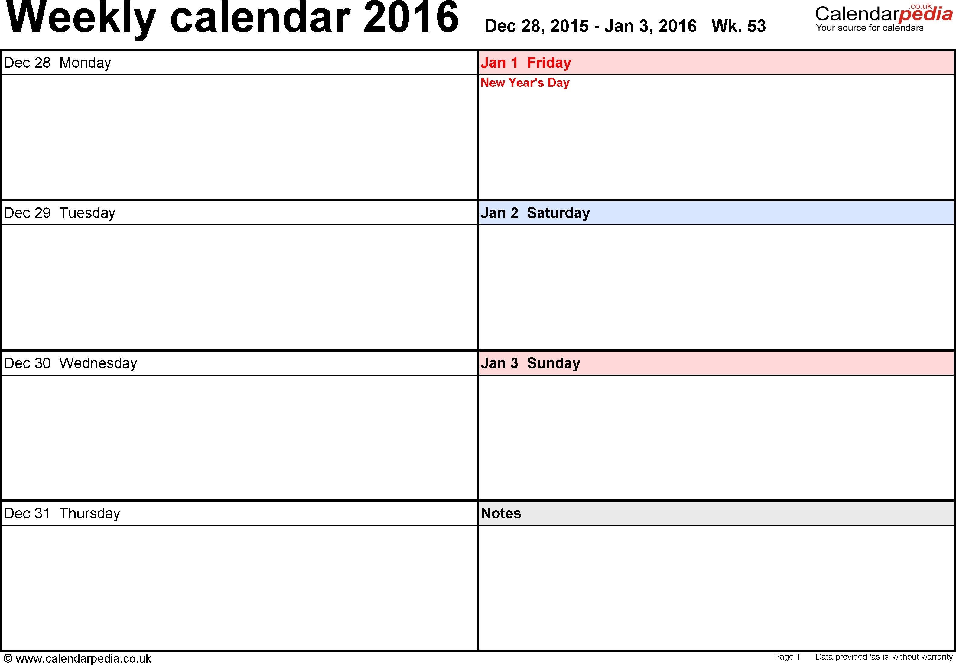 Schedule Template Week Calendar Excel Free Weekly Templates For | Smorad Calendar Template 1 Week